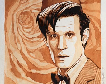 ORIGINAL watercolour/gouache painting of MATT SMITH (Doctor Who) by Chris Naylor
