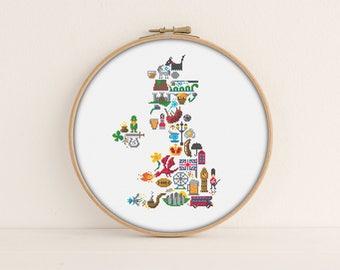 UK Cross stitch pattern / Printable pdf Pattern / England Cross stitch / Ireland / UK map cross stitch / Welsh Cross Stitch / Iconic