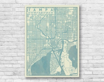 Tampa florida map Etsy