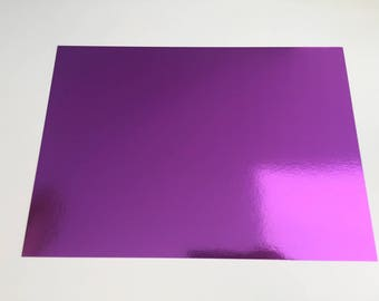 A4 cardstock holographic effect mirror - plain without patterns - color bright - purple
