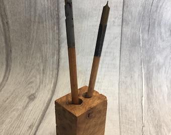 Oak wood pen holder 2 pen holes