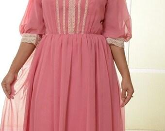 Pink chiffon and lace dress