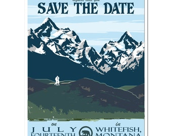 Vintage Montana Mountain Save the Date (set of 20)