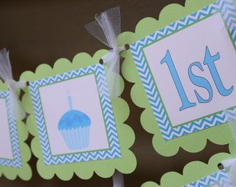 Cupcake banner, Sweet Shoppe banner, Sweet Shop party, Cupcake, blue and green