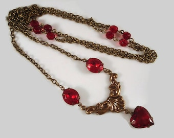 Red Heart Necklace Art Nouveau Inspired Gift For Her Valentine's Day