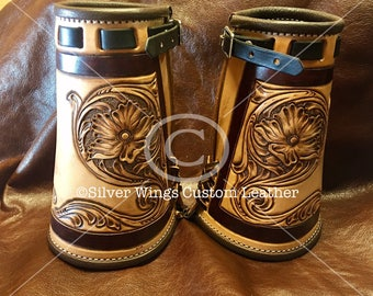 Custom Made Leather Cowboy Cuffs Hand Tooled Carved