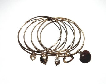 Vintage Gold/Brass 1970's Set of 5 Bangle Bracelets Stack with Floating Dangling Heart Charms