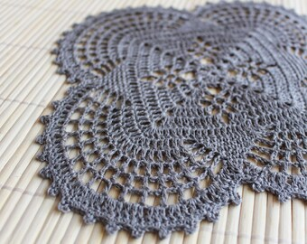 Crochet linen square placemat, doily placemat, linen grey, Rustic, natural,Ready to ship