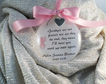Memorial Ornament Goodbyes Are Not Forever, Breast Cancer Remembrance Ornament, Personalized with Free Charm