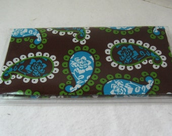 Checkbook Cover Paisley Turquoise Lime Cash Holder Works with Duplicate Checks