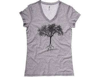 TREE SHIRT, camping Shirt, Birthday Gift for Her, Woodland Tee, Nature T-shirt, Vegan Shirt, Yoga shirt, Tree t shirt, V Neck Graphic tee