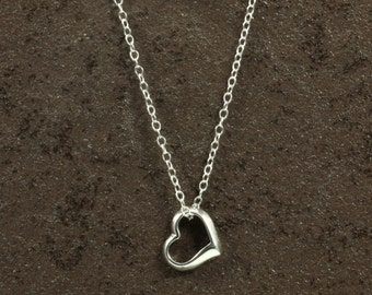 Sterling Silver Heart Necklace with Sterling Silver Chain, Heart Charm, Sterling Silver Necklace, Silver Necklace, Valentine's Day Gift
