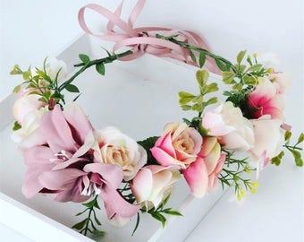Pink flower crown, flower headband, flower wreath, pastel headband, rose crown, rose hair accessory, flowergirl headband