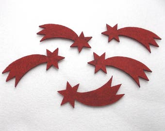 6 shooting stars, felt, 8x5 cm, * COLOUR CHOICE * (F24-0003AXXX)