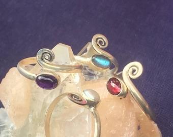 Adjustable Toe Ring with Gemstones ~Single Piece ~