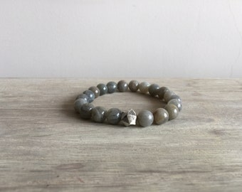 Men's Labradorite Bracelet with Sterling Silver Bead