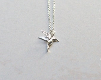 Sterling Silver Hummingbird Necklace, Hummingbird Pendant,  Gifts for her, Gifts under 25, Bird Necklace, Silver Necklace, Silver Jewelry