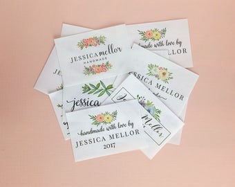sewing labels, watercolor quilt label, fabric tag, crochet label, knitting label, floral fabric label, name label, custom fabric label,NF15