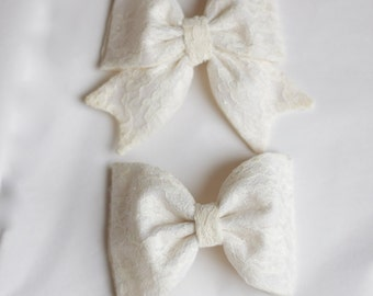 Cream Lace Bows