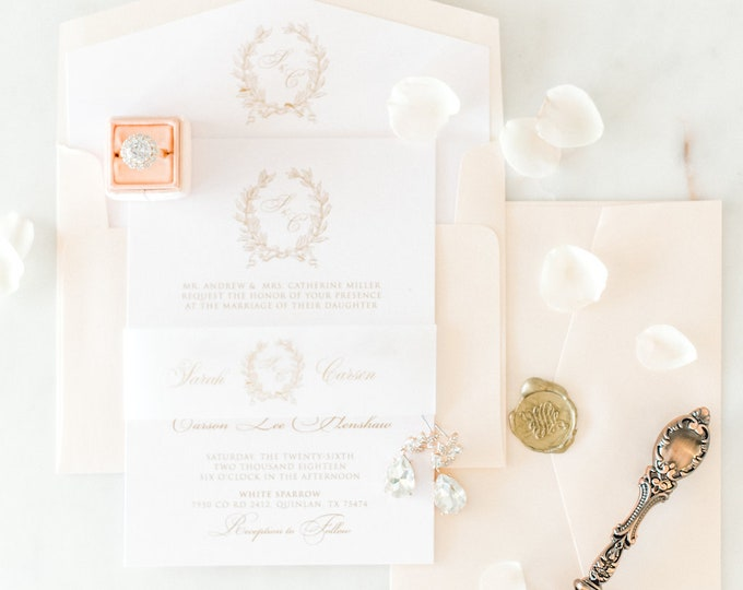 Soft Blush Pink & Monogram Traditional Formal Wedding Invitation in Gold and Blue with Vellum Band, Liner, and Guest Address - Other