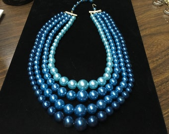 Vintage Choker Necklace, 4 Strands, Blues