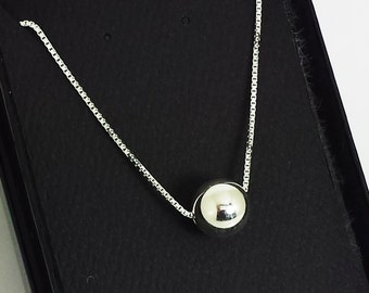 Sterling Silver Ball Necklace- Single Sterling Bead Necklace