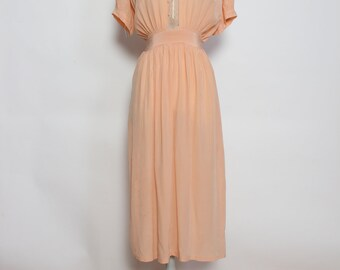 Vintage 1930s Peach Silk and Lace Nightgown