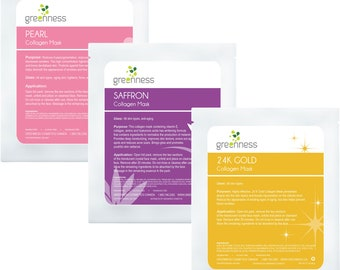 Anti-ageing Beauty Masks - Saffron Collagen Mask, Pearl Collagen Mask, 24K Gold Collagen Mask Combo (pack of 3)