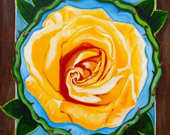 Rose (acrylic painting, thorns, wreath, floral, flower, nature, heart, love, romance)