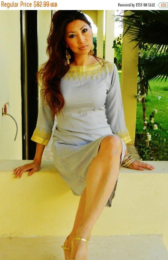 KAFTAN 20% SALE/ Light Grey Resort Tunic Dress Summer Dress -Reina Style-perfect for birthday gifts, dresses, maternity, Ramadan, Eid