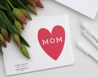 MOM in a bringt red/pink heart card - Card for Mom for any occasion - Mother's Day Card - Heart Card for mom - Mom's Day Card - Mom's Day