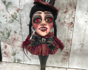 Creepy gothic vampire doll sculpture ooak oddity victorian lady vamp