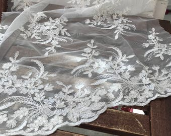 Claire WHITE Floral Corsage Embroidered on Mesh Lace Fabric by the Yard - SKU 1022