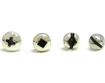 PICK ONE Small Polished Screw Head Earring. SINGLE Screw Earring. One Handmade Hardware Sterling Silver Stud Earring for Men and Women.