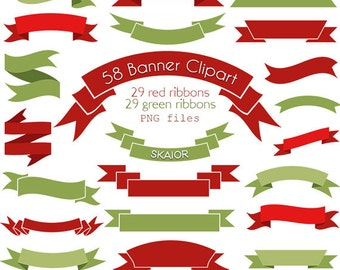 Christmas Banners Clipart Digital Banners Clip Art Vector Ribbons Vector Banners Digital Labels Christmas Ribbons Scrapbooking