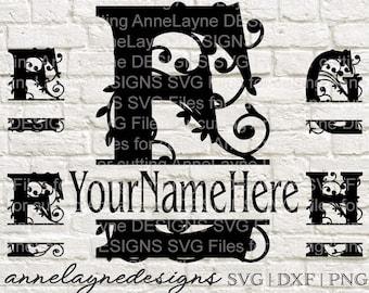 BB Fancy Name Plate Letters E-H, svg, ai, dxf, eps, jpg, pdf, png, cut files, Instant Download, Split Monogram