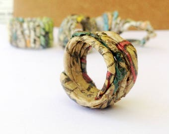 Sustainable jewelry gift for wife – upcycled newspaper ring. Gift for eco jewelry lover. Recycled newspaper ring made to order in your size.