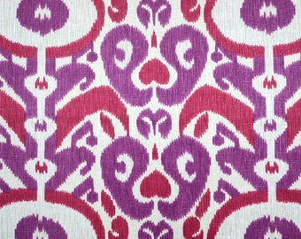 Big Bold Begonia Purple Ikat Real Linen Damask Fabric