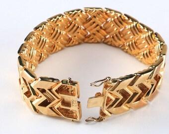 Sterling Silver bracelet. Gold washed. Reversible
