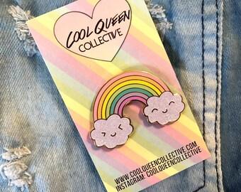 Jumbo Happy Rainbow GLITTER Enamel Pin