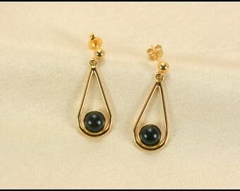 Teardrop earrings gold, Gold teardrop earrings with ebony, Dangle earrings, Black teardrop earrings, Black Jewelry, 5th anniversary gifts