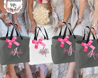 8 Personalized Bridesmaid Tote Bags Monogrammed Tote, Bridesmaids Tote, Personalized Tote, Monogrammed Tote Bag, Bridesmaid Gift Bags
