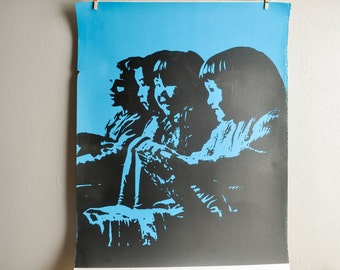 Vintage Screen Print Poster Woodcut Children's Profiles