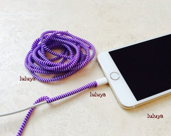 4 Pieces Purple White Spring Spiral Wrap Around Cord Protectors for Iphone Samsung Cellphone Tablet Charger Cable Earphone Earbuds
