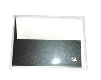 Black Grey Steel notecards 5 dove notecards blank notecards peace dove cards gunmetal cards blank cards note card set notecards blanks