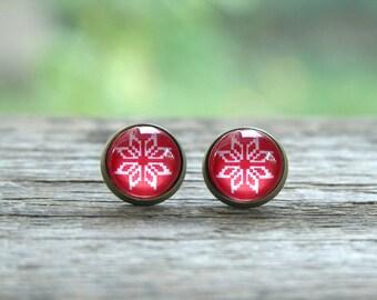 Scandinavian pattern earrings, red and white earrings, Christmas earrings, Nordic earrings, Red Snowflake Earrings, blue snowflake
