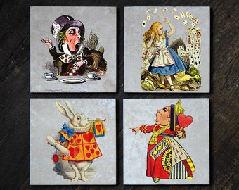 Alice in Wonderland Tile Coasters - Set of 4 // Alice // Mad Hatter // White Rabbit // Queen of Hearts // Lewis Carroll