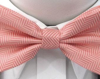 Coral Herringbone  Design PreTied Bow Tie