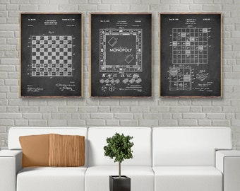 3 Print set Popular Game Board Patents, Chess board patent print, Monopoly board patent poster, Scrabble Board patent wall art [285-286-287]