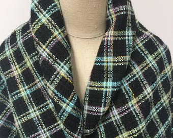 Turquoise Black Suiting Plaid - Sold by the Yard